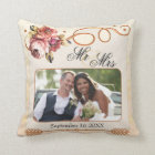Chic Floral Rose Gold Beige Wedding Photo Pillow