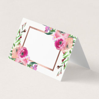 Chic Floral Rose Gold Wedding Place Card