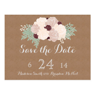 Chic Floral Save the Date- Dark Wine Accent Postcard