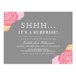 Chic Floral Shh..It's a Surprise Birthday Party Postcard
