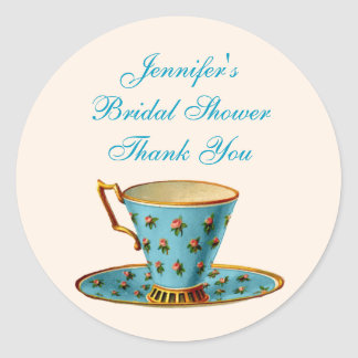 Chic Floral Tea Cup Bridal Shower Sticker