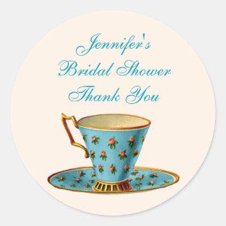 Chic Floral Tea Cup Bridal Shower Sticker