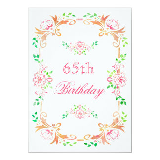 "Chic Floral Watercolor 65th Birthday Double Sided 5"" X 7"" Invitation Card"