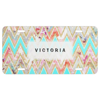 Chic floral watercolor gold chevron pastel teal license plate