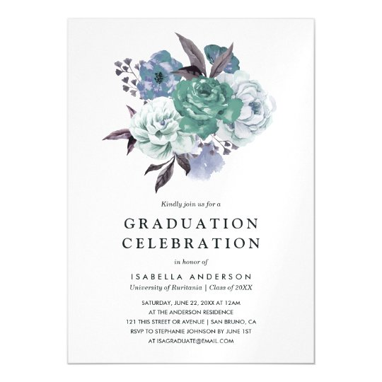Chic Floral Watercolor Spring Graduation Party Magnetic Invitations