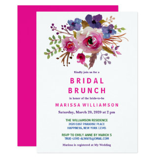Chic Floral Watercolor Stylish Bridal Brunch Card