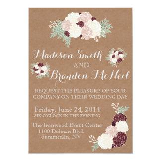 Chic Floral Wedding Invite- Dark Wine Accent Card