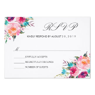 Chic Floral Wedding RSVP/no meal Card