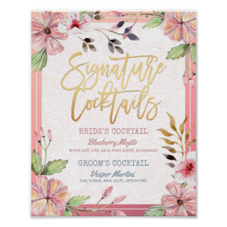 Chic Floral Wedding Signature Cocktail Drink Menu Poster