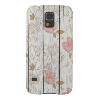 Chic Floral Wood Cases For Galaxy S5