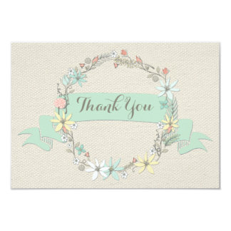 "Chic Floral Wreath and Banner Thank You 3.5"" X 5"" Invitation Card"