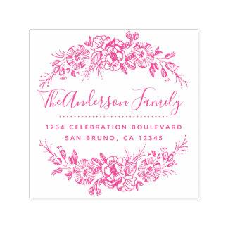 Chic Floral Wreath | Fuchsia Script Return Address Self-inking Stamp