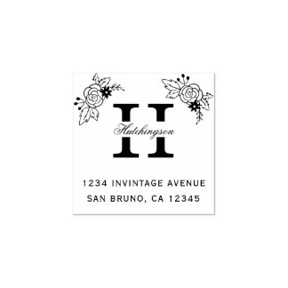 Chic Flowers & Custom Monogram Return Address Rubber Stamp