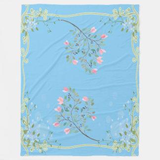 Chic Flowers On-Baby Blue Fleece Blanket Large