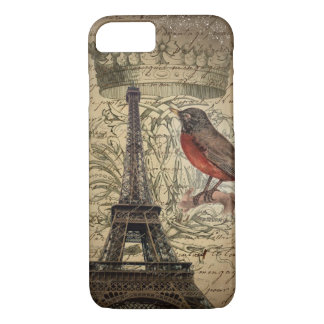 Chic French Bird Modern Vintage Paris Eiffel tower iPhone 8/7 Case