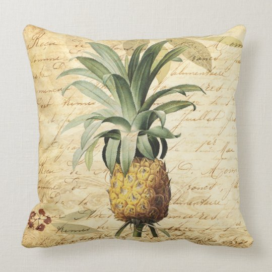 Chic French Calligraphy and Vintage Pineapple Throw Pillow