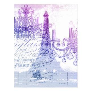 chic french purple chandelier paris eiffel tower postcard