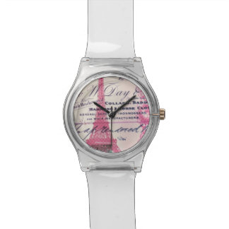 chic french scripts lace pink paris eiffel tower watch
