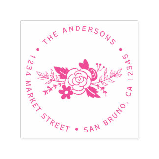 Chic Fuchsia Roses Round Typography Return Address Self-inking Stamp
