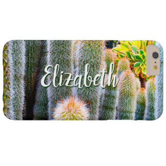 Chic, fuzzy orange & green cacti photo custom name barely there iPhone 6 plus case