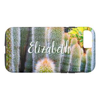 Chic, fuzzy orange & green cacti photo custom name Case-Mate iPhone case