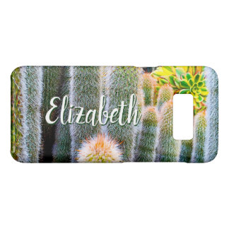 Chic, fuzzy orange & green cacti photo custom name Case-Mate samsung galaxy s8 case