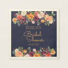 Chic Garden Floral Navy Blue Personalized Napkin