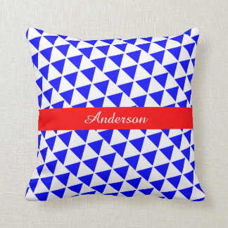 Chic Geometric Blue White add your name Pillow