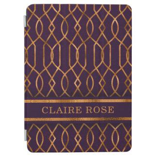 Chic Geometric Purple Gold Lattice Pattern iPad Air Cover