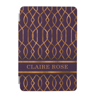 Chic Geometric Purple Gold Lattice Pattern iPad Mini Cover