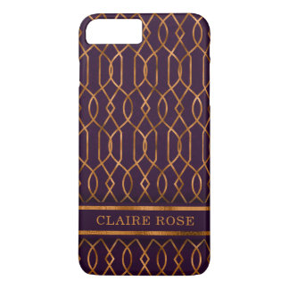 Chic Geometric Purple Gold Lattice Pattern iPhone 8 Plus/7 Plus Case