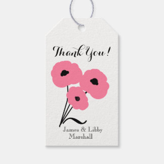 """CHIC GIFT TAG_""""Thank You!"""" PINK & BLACK POPPIES Pack Of Gift Tags"""