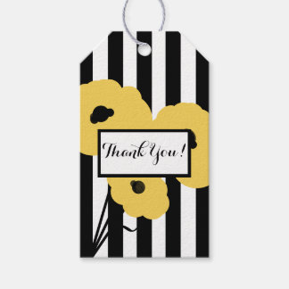 """CHIC GIFT TAG_""""Thank You!"""" YELLOW & BLACK POPPIES Pack Of Gift Tags"""