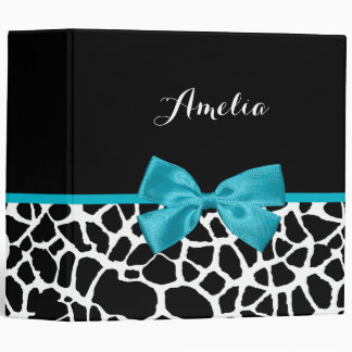 Chic Giraffe Print Aqua Blue Ribbon Bow With Name 3 Ring Binders