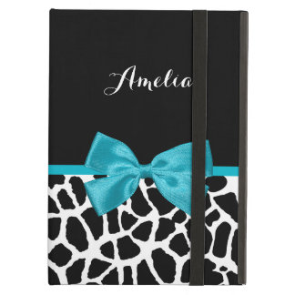Chic Giraffe Print Aqua Blue Ribbon Bow With Name iPad Air Cover