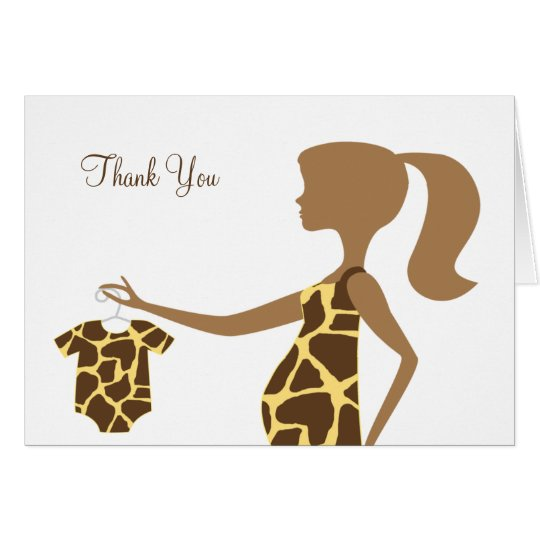 Chic Giraffe Print Baby Note Cards