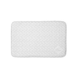 Chic Girl's Monogram, Silver & White Waves Pattern Bathroom Mat