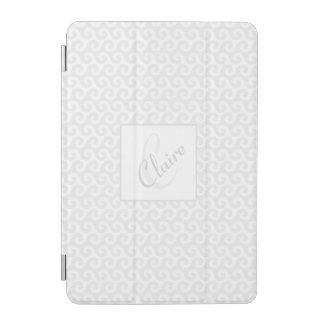 Chic Girl's Monogram, Silver & White Waves Pattern iPad Mini Cover