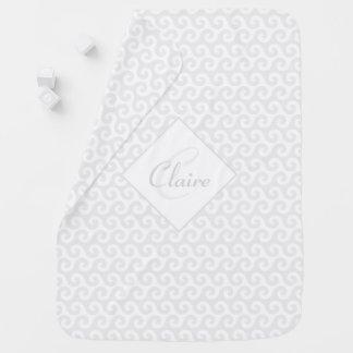 Chic Girl's Monogram, Silver & White Waves Pattern Receiving Blanket