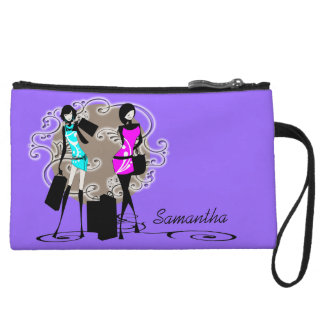 Chic girls glamour shopping purple wristlet