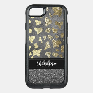 Chic Girly Black Gold Animal Print Monogram OtterBox Commuter iPhone 8/7 Case