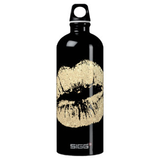 Chic & Girly Gold Lips Black SIGG Water Bottle