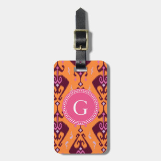 Chic girly orange ikat tribal pattern monogram luggage tag