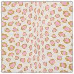 Chic girly pink and gold cheetah print pattern fabric