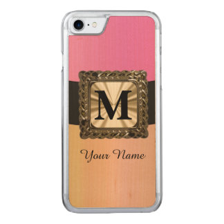 Chic girly pink monogram carved iPhone 7 case