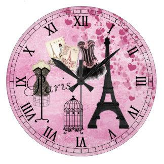 Chic Girly Pink Paris Fashion Clock