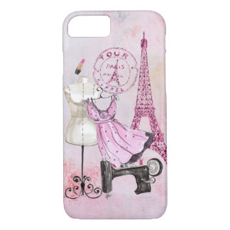 Chic Girly Pink Paris Fashion iPhone iPhone 8/7 Case