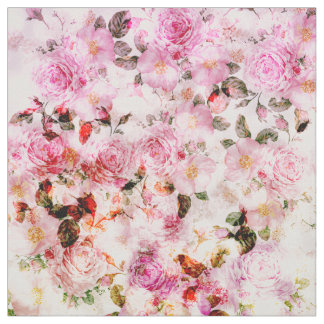 Chic girly pink watercolor vintage floral pattern fabric