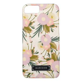 Chic Girly Retro Floral Lilac & Peach Personalized iPhone 7 Case
