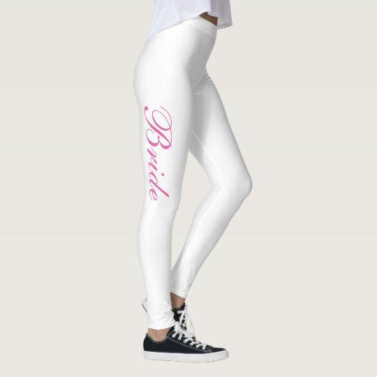 Chic Girly Simple Pink Script White Bride Leggings